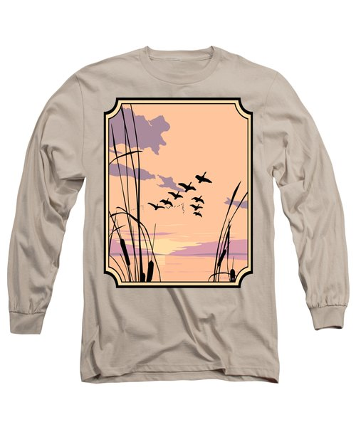 Abstract Ducks Sunset 1980s Acrylic Ducks Sunset Large 1980s Pop Art Nouveau Painting Retro      Long Sleeve T-Shirt by Walt Curlee