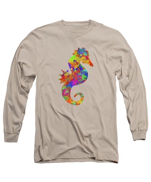 Seahorse Watercolor Art Long Sleeve T-Shirt by Christina Rollo