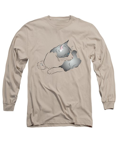 Grey And White Cat In Profile Graphic Long Sleeve T-Shirt