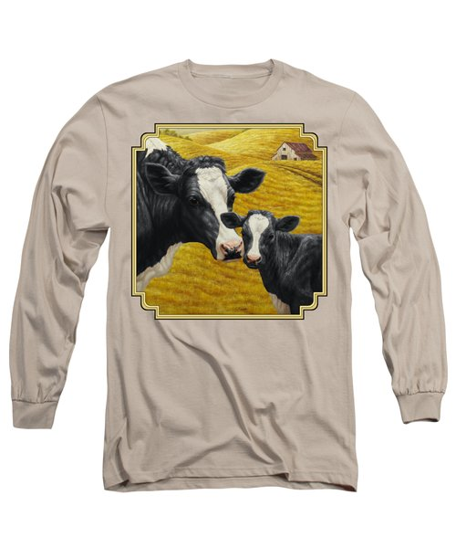Holstein Cow And Calf Farm Long Sleeve T-Shirt by Crista Forest