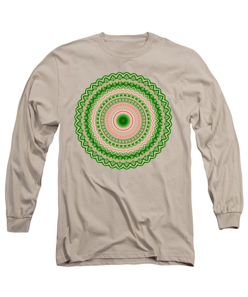 Pink And Green Mandala Fractal 002 Long Sleeve T-Shirt
