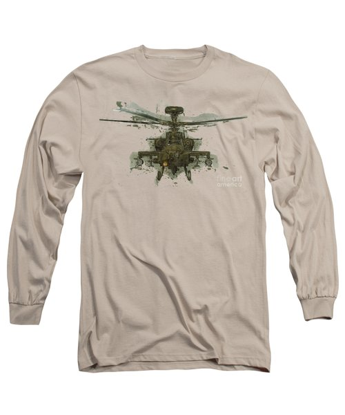 Apache Helicopter Abstract Long Sleeve T-Shirt