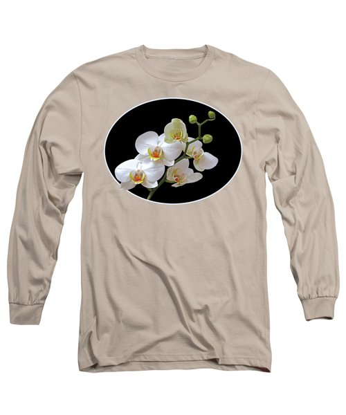 Orchids On Black And Gold Long Sleeve T-Shirt by Gill Billington