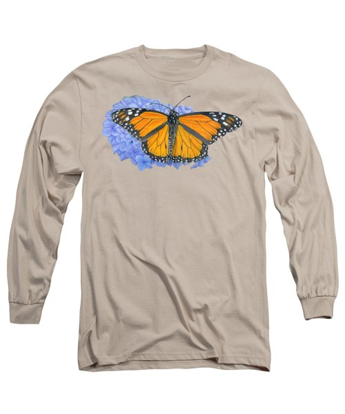 Monarch Butterfly And Hydrangea- Transparent Background Long Sleeve T-Shirt