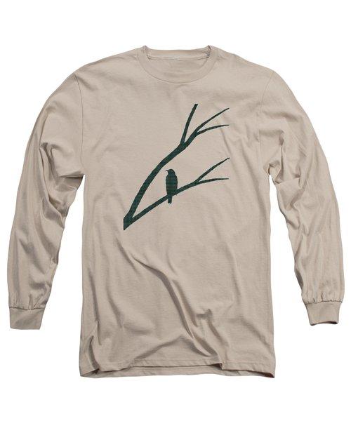 Green Bird Silhouette Plaid Bird Art Long Sleeve T-Shirt