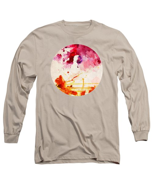 Fuchsia And Orange Color Splash Long Sleeve T-Shirt