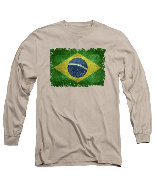 Long Sleeve T-Shirt featuring the digital art Flag Of Brazil Vintage 18x24 Crop Version by Bruce Stanfield