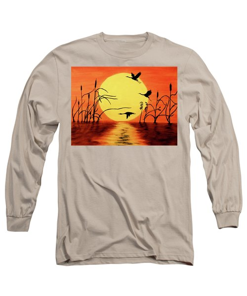 Long Sleeve T-Shirt featuring the painting Sunset Geese by Teresa Wing