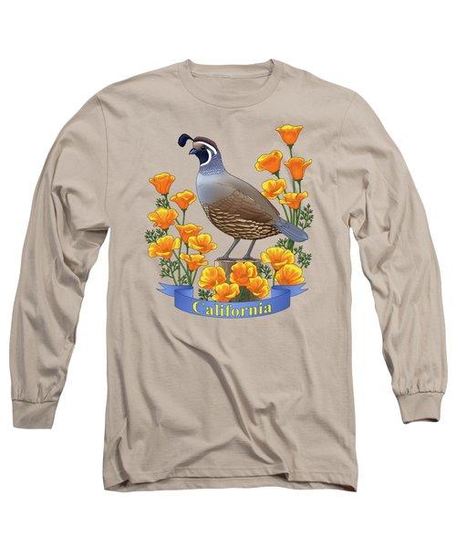 California Quail And Golden Poppies Long Sleeve T-Shirt