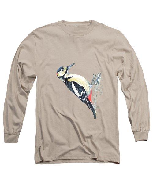 Great Spotted Woodpecker Long Sleeve T-Shirt by Roy Pedersen