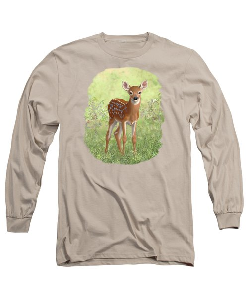 Cute Whitetail Deer Fawn Long Sleeve T-Shirt by Crista Forest