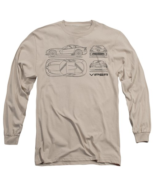 Srt Viper Blueprint Long Sleeve T-Shirt by Mark Rogan