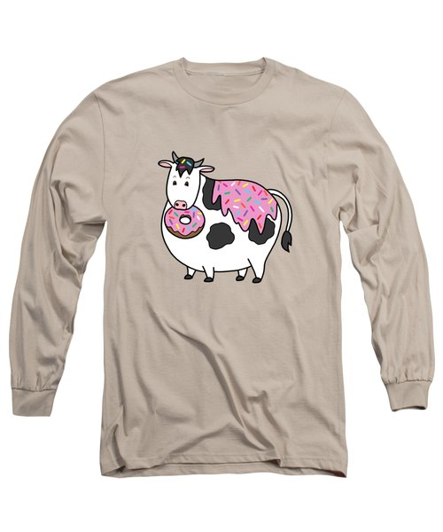 Funny Fat Holstein Cow Sprinkle Doughnut Long Sleeve T-Shirt by Crista Forest