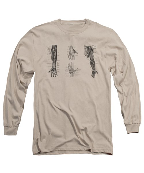 Complete Arm And Hand Diagram - Vintage Anatomy Print Long Sleeve T-Shirt