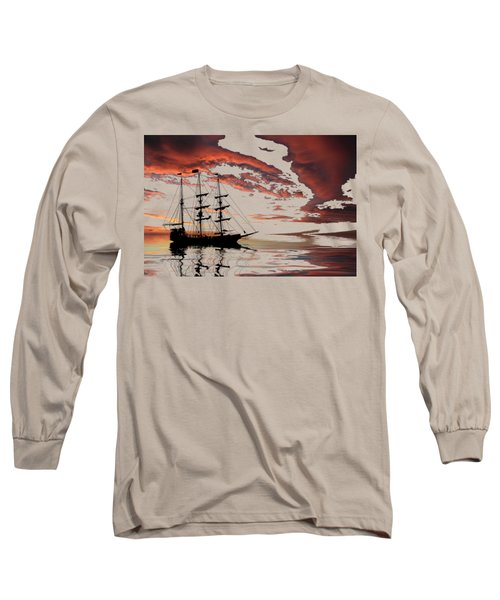 Pirate Ship At Sunset Long Sleeve T-Shirt by Shane Bechler