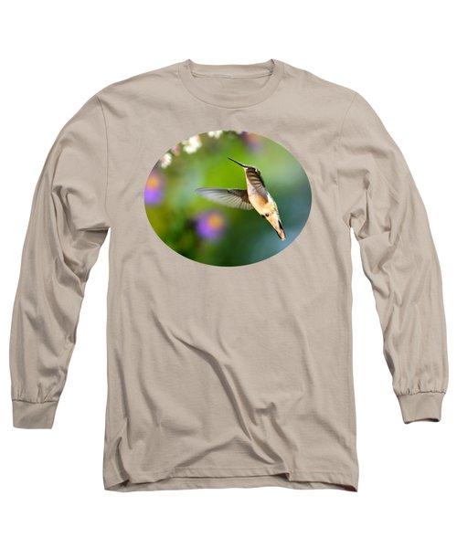 Garden Hummingbird Long Sleeve T-Shirt by Christina Rollo