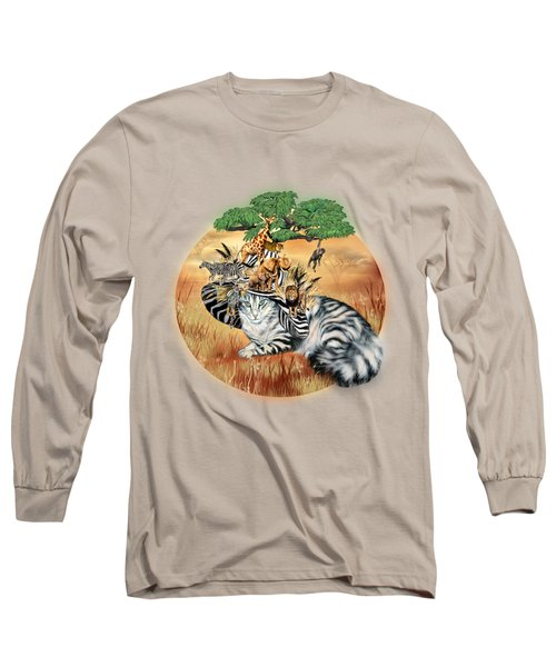 Cat In The Safari Hat Long Sleeve T-Shirt by Carol Cavalaris