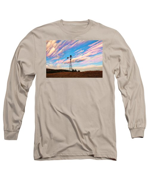 Long Sleeve T-Shirt featuring the photograph Crazy Wild Windmill by Bill Kesler
