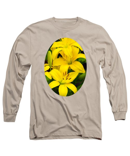 Yellow Lilies Long Sleeve T-Shirt by Christina Rollo