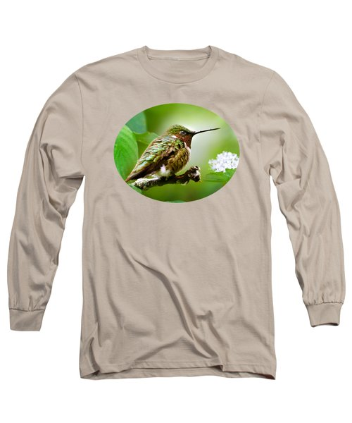 Male Ruby-throated Hummingbird At Rest Long Sleeve T-Shirt