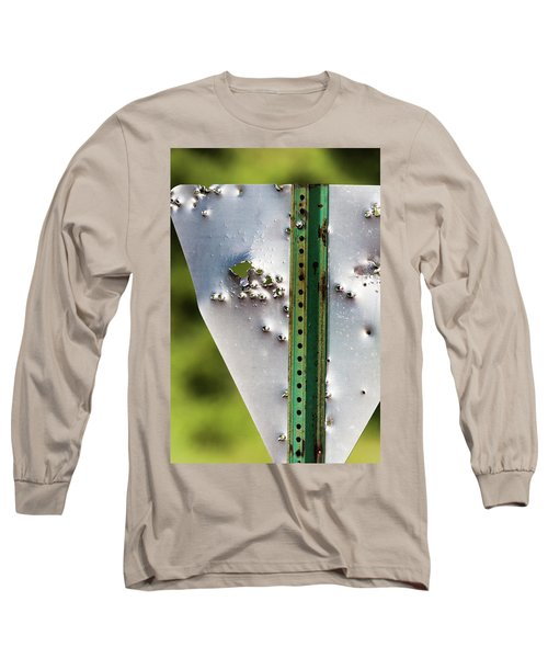 Bullet Hole Yield Long Sleeve T-Shirt by Bill Kesler
