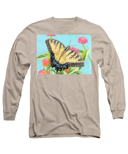 Swallowtail Butterfly And Zinnias Long Sleeve T-Shirt by Sarah Batalka