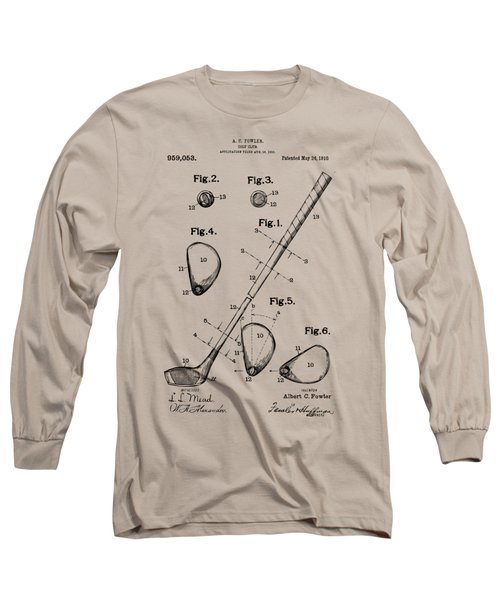 Vintage 1910 Golf Club Patent Artwork Long Sleeve T-Shirt by Nikki Marie Smith
