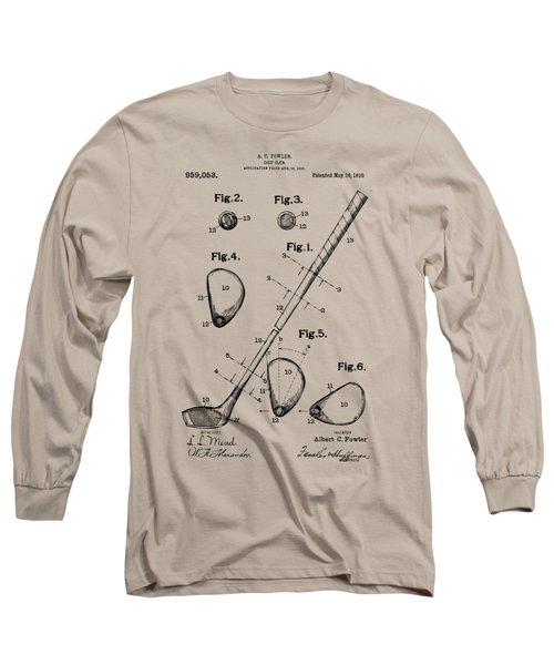 Vintage 1910 Golf Club Patent Artwork Long Sleeve T-Shirt