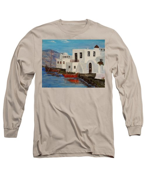 Long Sleeve T-Shirt featuring the painting At Home In Greece by Marilyn  McNish