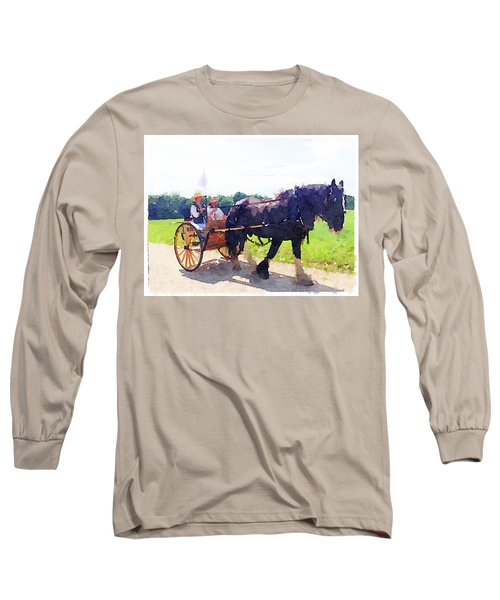 Horse And Buggy At Mount Vernon Long Sleeve T-Shirt
