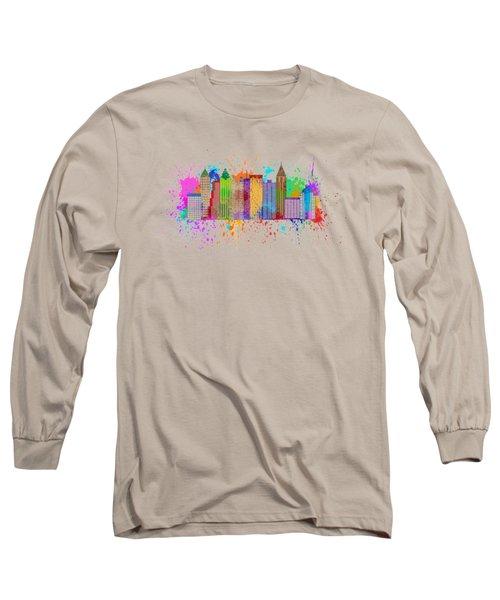 Atlanta Skyline Paint Splatter Illustration Long Sleeve T-Shirt