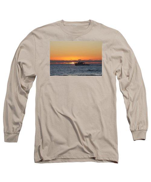 Atlantic Ocean Fishing At Sunrise Long Sleeve T-Shirt