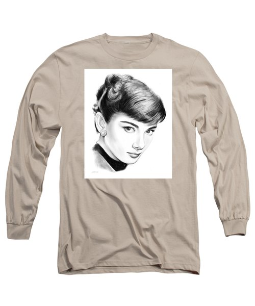 Audrey Hepburn Long Sleeve T-Shirt by Greg Joens