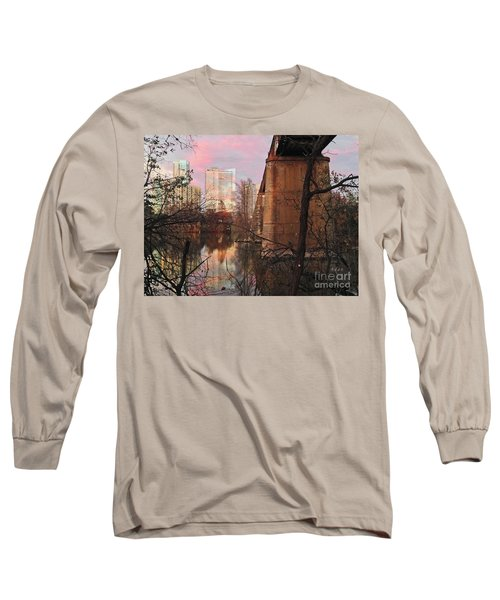 Austin Hike And Bike Trail - Train Trestle 1 Sunset Triptych Middle Long Sleeve T-Shirt by Felipe Adan Lerma