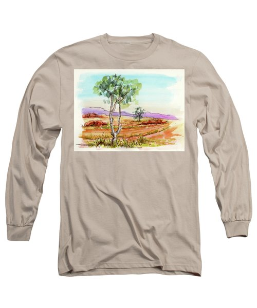 Long Sleeve T-Shirt featuring the painting Australian Landscape Sketch by Margaret Stockdale