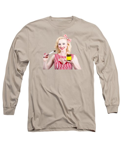 Australian Pinup Woman Holding Sandwich Spread Long Sleeve T-Shirt