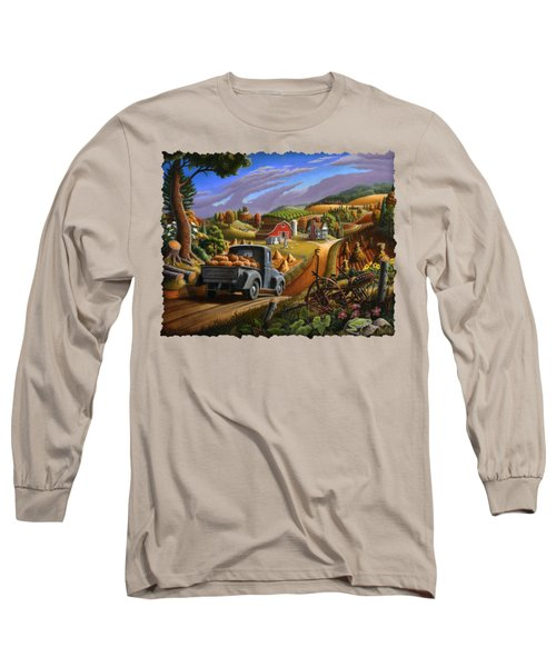 Autumn Appalachia Thanksgiving Pumpkins Rural Country Farm Landscape - Folk Art - Fall Rustic Long Sleeve T-Shirt by Walt Curlee