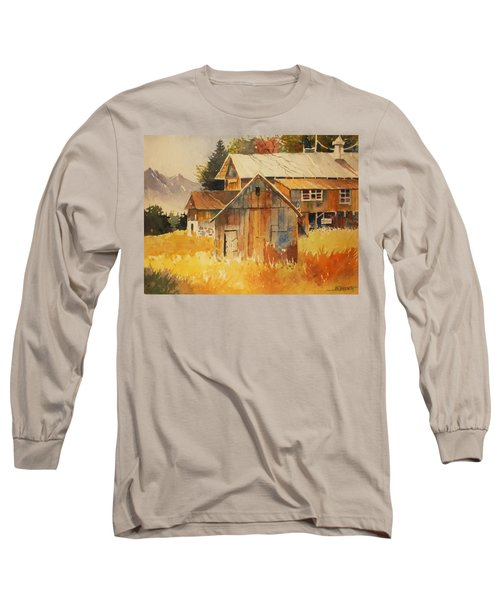 Autumn Barn And Sheds Long Sleeve T-Shirt by Al Brown