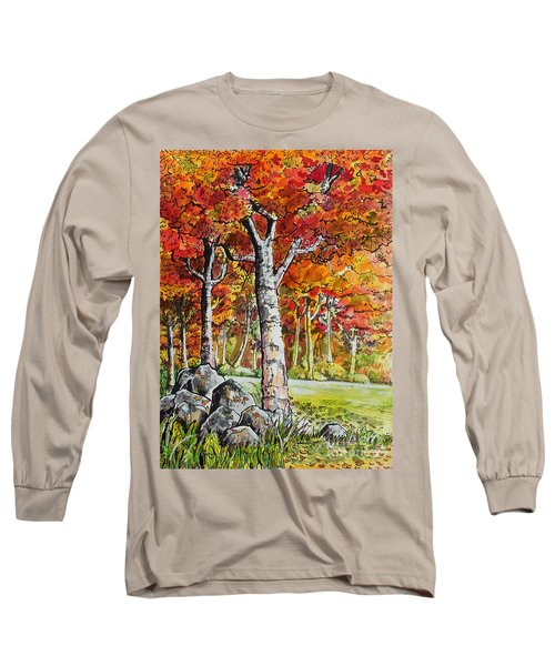 Long Sleeve T-Shirt featuring the painting Autumn Bloom by Terry Banderas