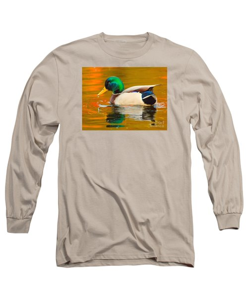 Autumn Duck Long Sleeve T-Shirt by Debbie Stahre