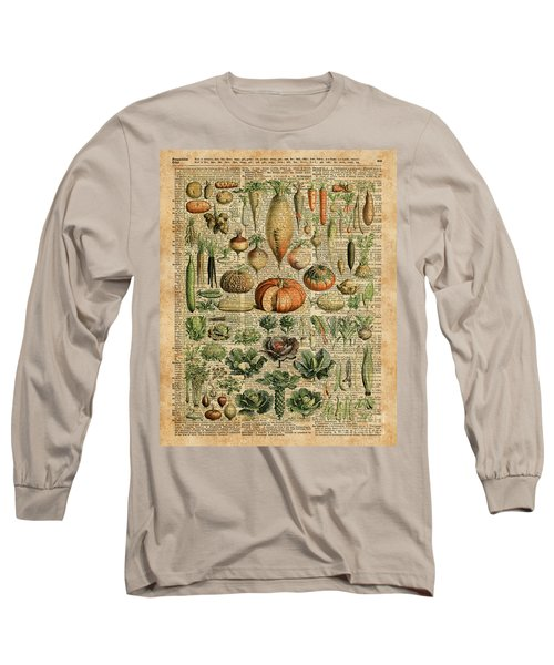 Autumn Fall Vegetables Kiche Harvest Thanksgiving Dictionary Art Vintage Cottage Chic Long Sleeve T-Shirt by Jacob Kuch