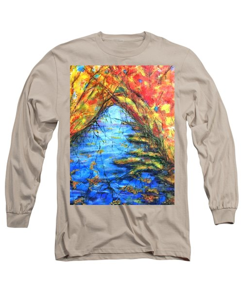 Long Sleeve T-Shirt featuring the painting Autumn Reflections 2 by Rae Chichilnitsky