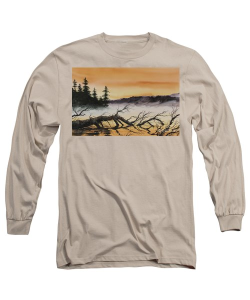 Long Sleeve T-Shirt featuring the painting Autumn Sunset Mist by James Williamson