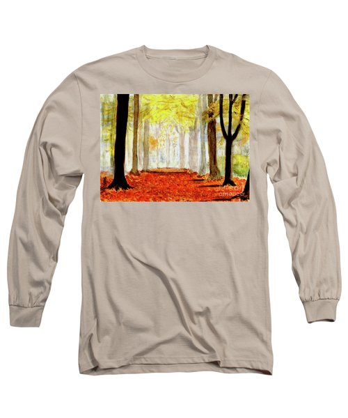 Long Sleeve T-Shirt featuring the painting Autumn Trail by Yoshiko Mishina