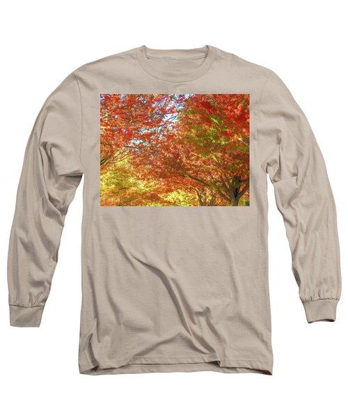 Autumn Trees Digital Watercolor Long Sleeve T-Shirt