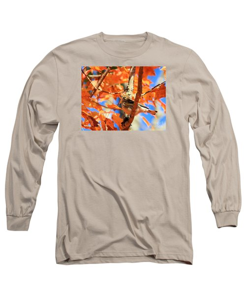Autumn Warbler Long Sleeve T-Shirt by Debbie Stahre