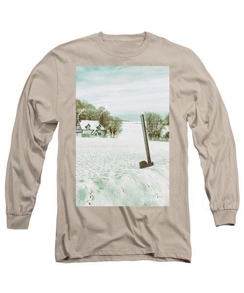Axe In Snow Scene Long Sleeve T-Shirt