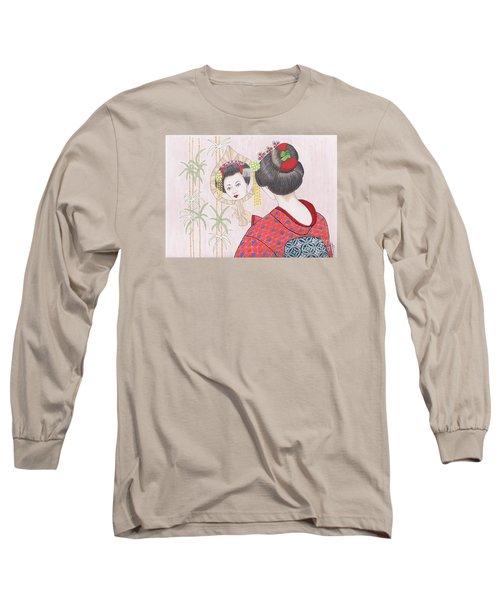 Ayano -- Portrait Of Japanese Geisha Girl Long Sleeve T-Shirt