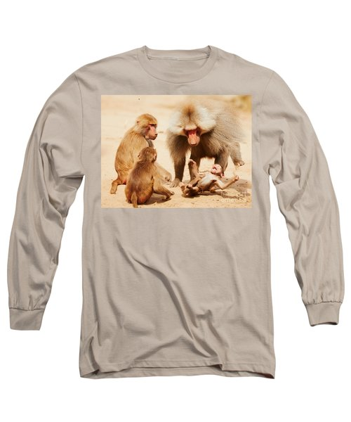 Baboon Family Having Fun In The Desert Long Sleeve T-Shirt