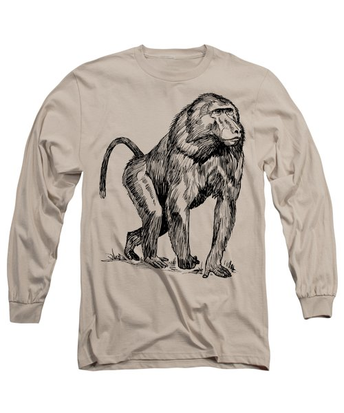 Baboon In Woods Texture Long Sleeve T-Shirt